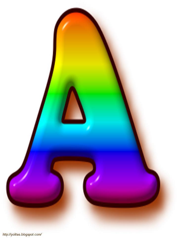 Abecedario arco iris en mayúsculas