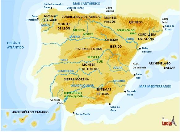 Clase De 1º De Primaria Mapa Fisico De Espana 4º Educacion Primaria